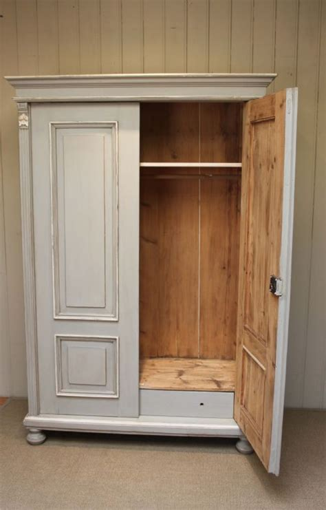 late 19th century painted pine two door wardrobe 231059