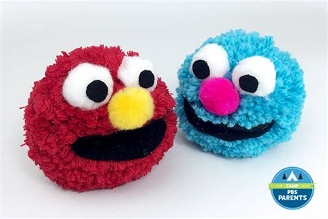 pom pom craft for sesame muppet pom pom crafts for pbs parents