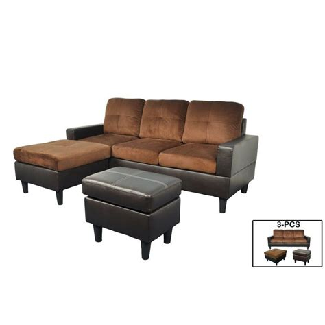 microfiber and faux leather sectional sofa f071 t brown microfiber and faux leather sectional with