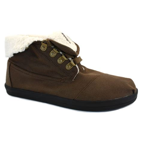 toms highlands mens fleece laced textile boots brown