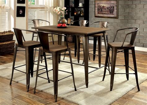 Metal Dining Table Sets Cooper Industrial Inspired Metal Frame Counter Height 7pcs Dining Table Set