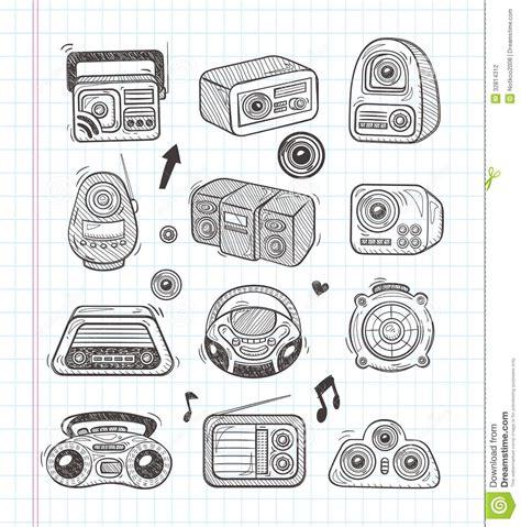 doodle radio doodle radio icons stock vector image of machine draw