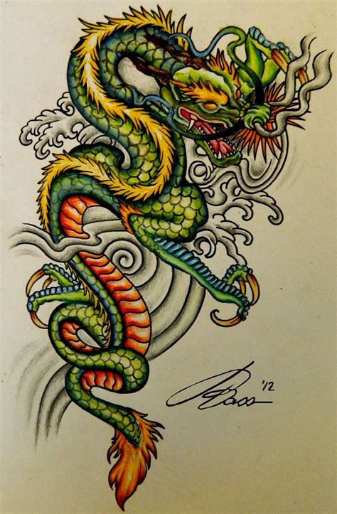 eastern dragon tattoo designs asian style dragons clouds