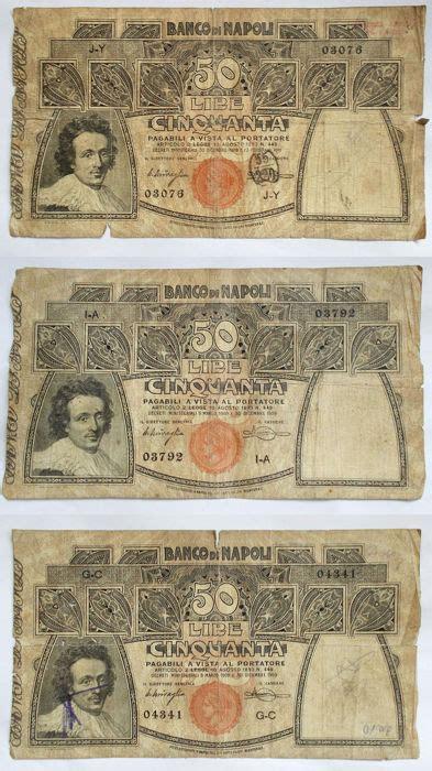 numero telefonico banco di napoli italy banco di napoli 50 lire 1909 1911 lotto di 3