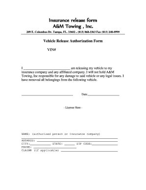 vehicle release form release form for impounded vehicle vehicle ideas