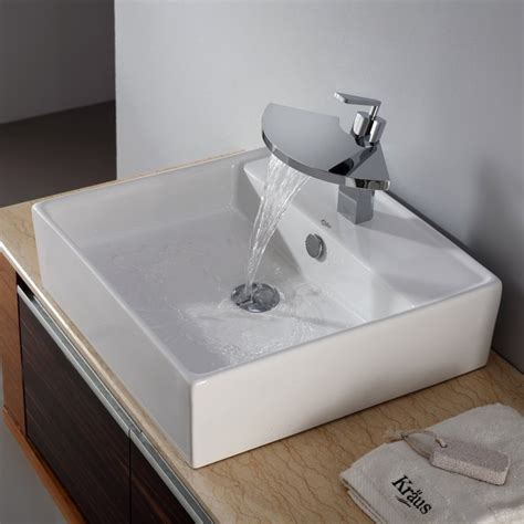 Bathroom Sinks And Faucets Kraus C Kcv 150 14801ch White Square Ceramic Sink And