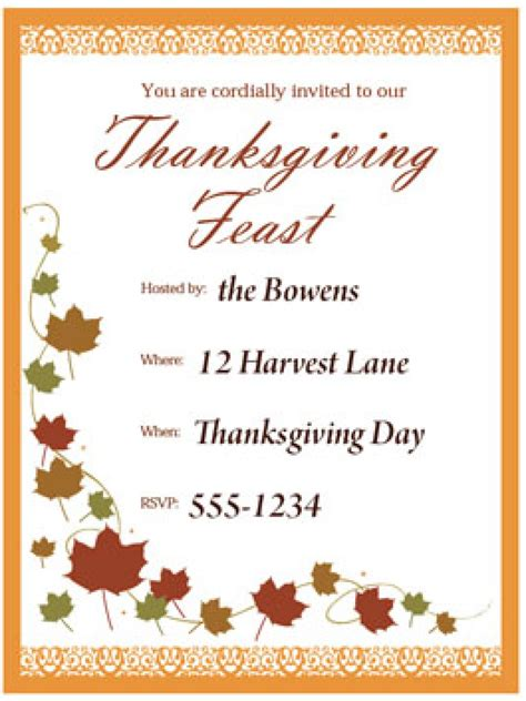Free Thanksgiving Invitation Templates by Free Thanksgiving Templates 31 Gift Tags Cards Crafts