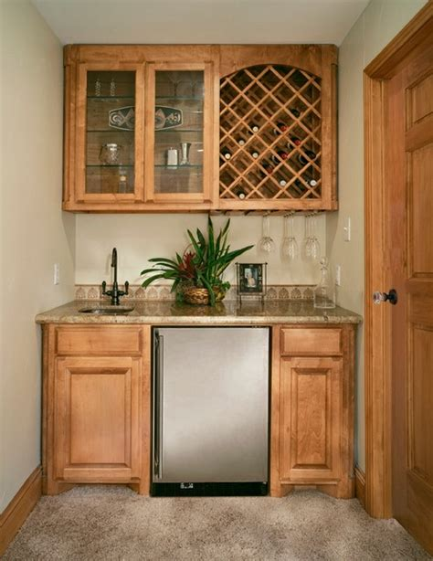 Bar With Sink And Refrigerator Wetbar With Wine Rack And Undercounter Refrigerator