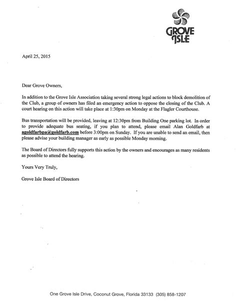 cancellation letter for parking space grove isle memo apr 25 2015 sle letter opposing