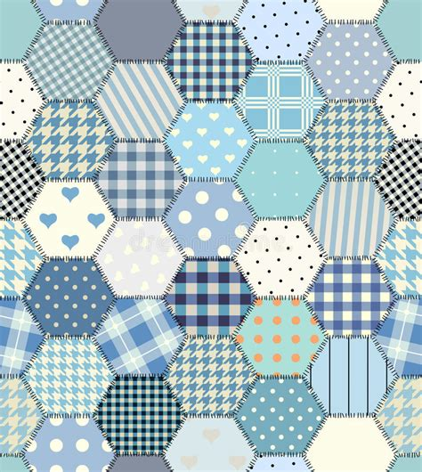 Hexagon Shapes For Patchwork - blue patchwork hexagon stock vector image 70874016