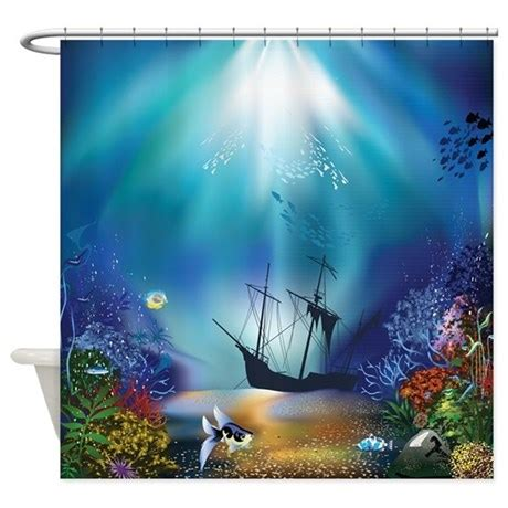 underwater shower curtain underwater scene shipwreck shower curtain by getyergoat