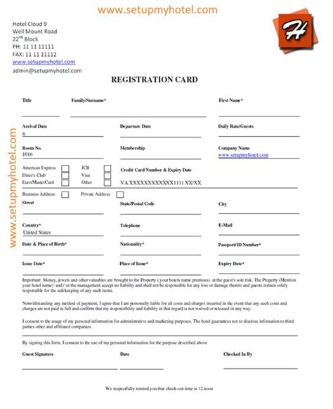hotel contract template hotel guest registration card sle accomodation reg
