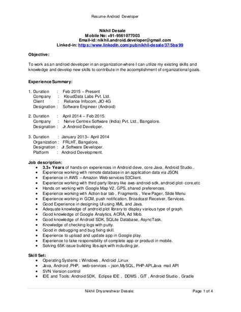 Android Developer Resume by Resume Android Developer