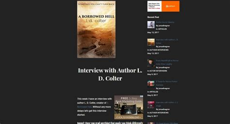 a borrowed hell books an with author l d colter the speculative