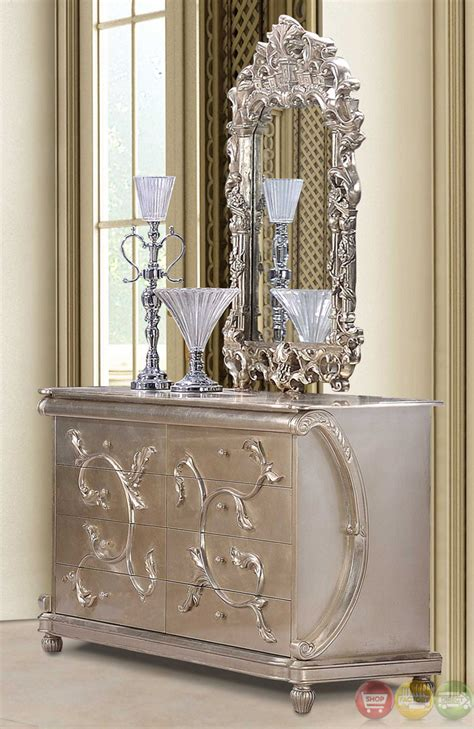 metallic bedroom furniture classic style button tufted queen size metallic bedroom