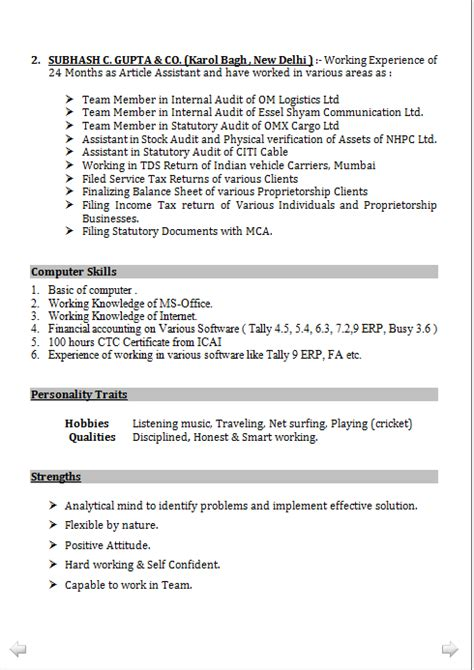 resume format chartered accountant articleship accounts resume format in word