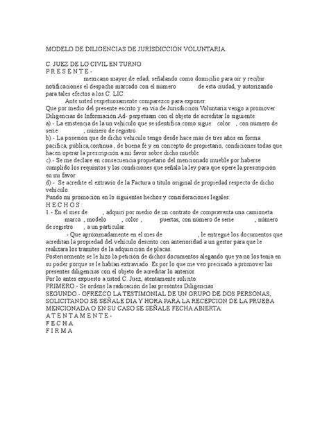 formato de jurisdiccion voluntaria para acreditar modelo de diligencias de jurisdicci 211 n voluntaria