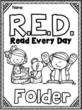 printable reading log cover page take home reading editable red read every day folder