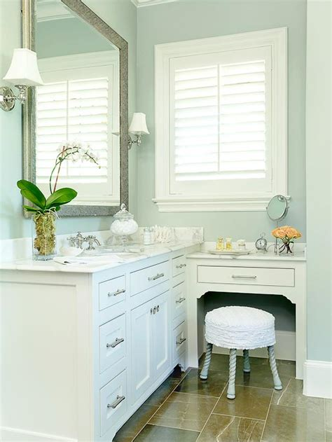 built in bathroom vanities built in makeup vanity traditional bathroom bhg