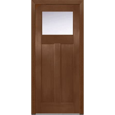Prehung Fiberglass Exterior Doors Mmi Door 36 In X 80 In Clear Glass Right Craftsman 1 4 Lite 2 Panel Classic Stained