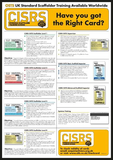 card poster cisrs construction industry scaffolders