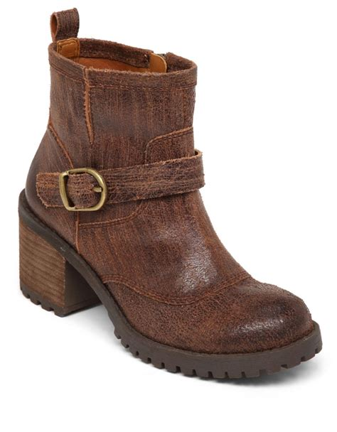 lucky brand ninnah leather boots in brown tobacco lyst