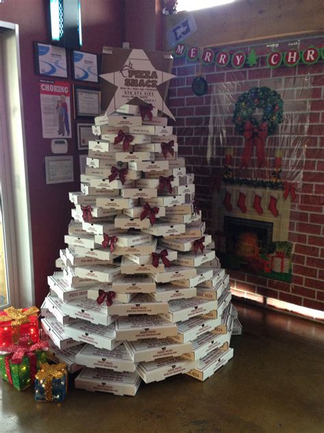 yellowcabnycheers pizza box christmas tree ny cheers