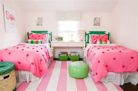 pink and green rooms pink and green girls bedroom with pink rugby striped rug
