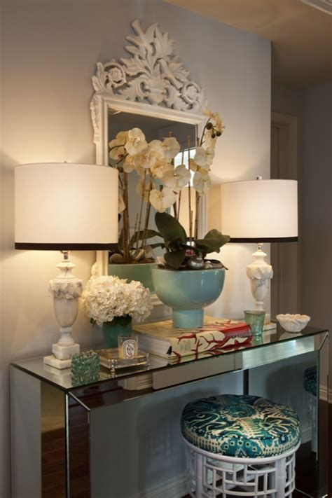 foyer decor mirrored console table eclectic entrance foyer