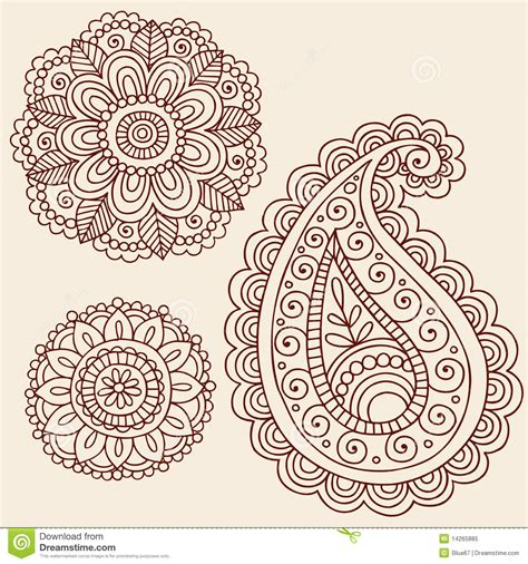 doodle tattoos henna paisley pattern coloring pages