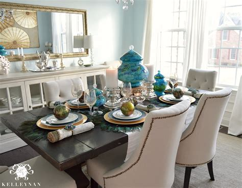 peacock inspired dining room  tablescape kelley