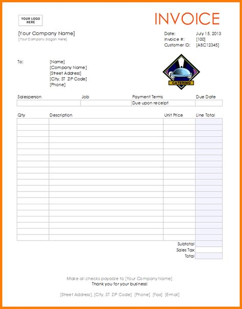 Make Your Own Invoice Template Hardhost Info Free Printable Catering Invoice Template