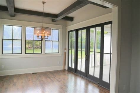 black interior windows light gray wall warm white trim and almost black on the