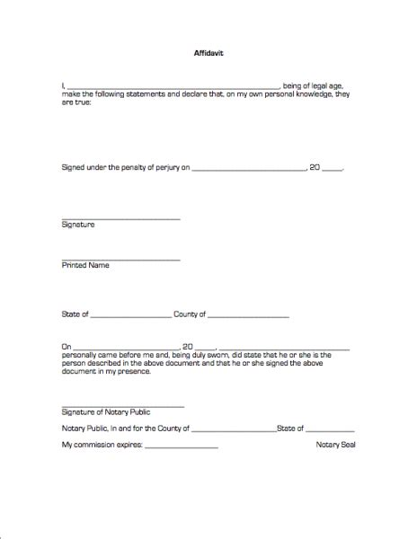 affidavit template doc 33 printable affidavit form template exles thogati