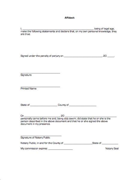 blank affidavit template 33 printable affidavit form template exles thogati