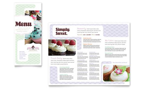 bakery cupcake shop menu template design