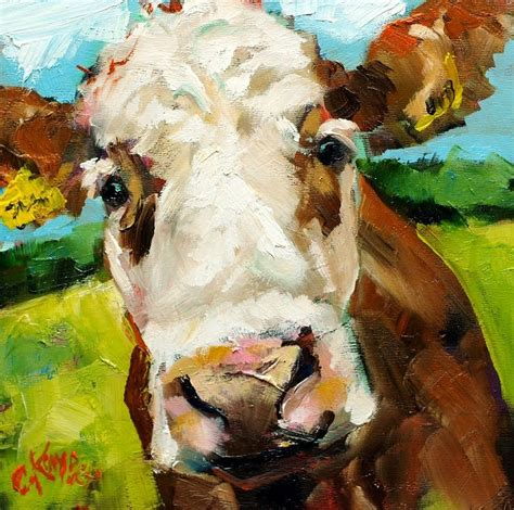 scow paintings brown cow painting by claire kayser