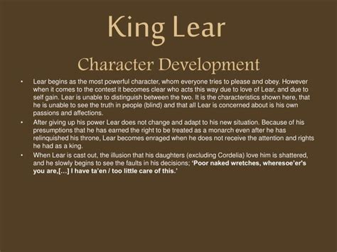 themes in king lear ppt ppt king lear character development powerpoint