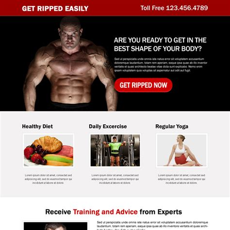 Bodybuilding Responsive Landing Pages For Your Pre Work Out Muscle Building Supplement Fat Loss Fitness Landing Page Templates