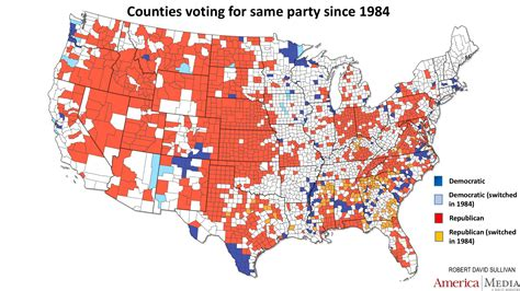 us map and blue counties how the and blue map evolved the past century