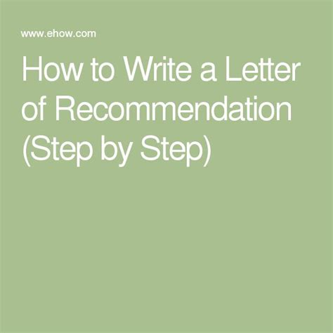 Step Promotion Nomination Letter how to write a letter of recommendation step by step