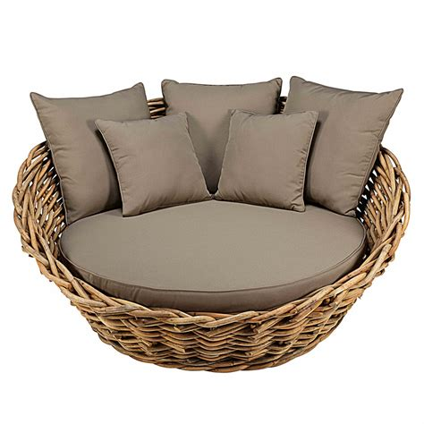 round sofa cushions round garden sofa in rattan with taupe cushions st tropez