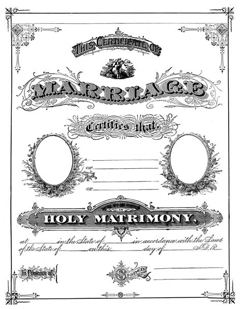 Marriage Record For Free Antique Ephemera Clip Printable Marriage Certificate