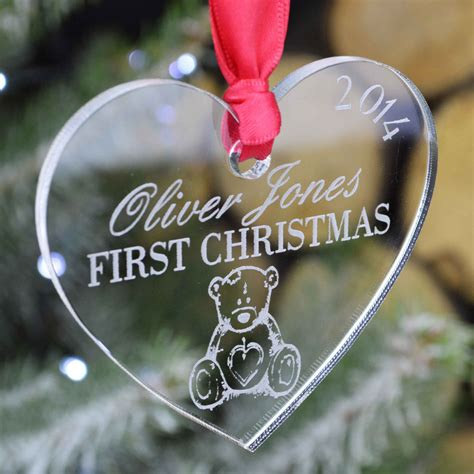 personalised baby first christmas tree decoration bauble