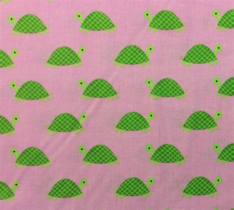 green turtles on pink cotton fabric quilt fabric ds06