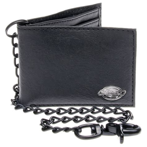 dickies black leather slim bifold wallet w metal chain ebay