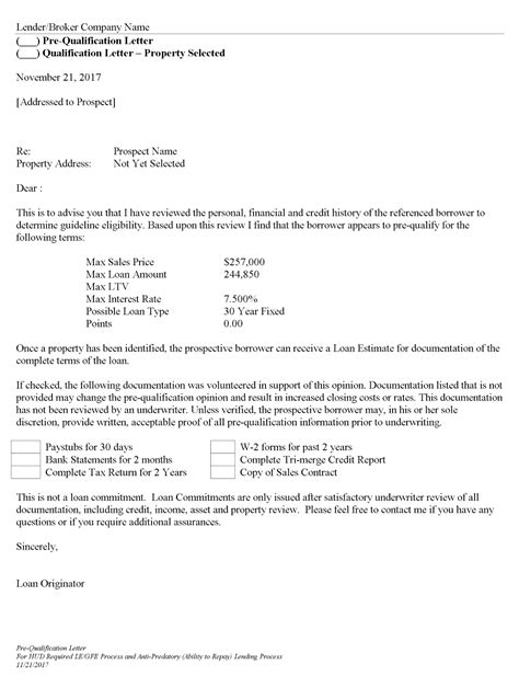 Mortgage Loan Qualification Letter pre qualification letter requirements docoments ojazlink
