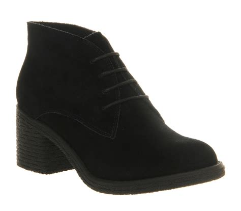 office keeper lace up black suede ankle boots