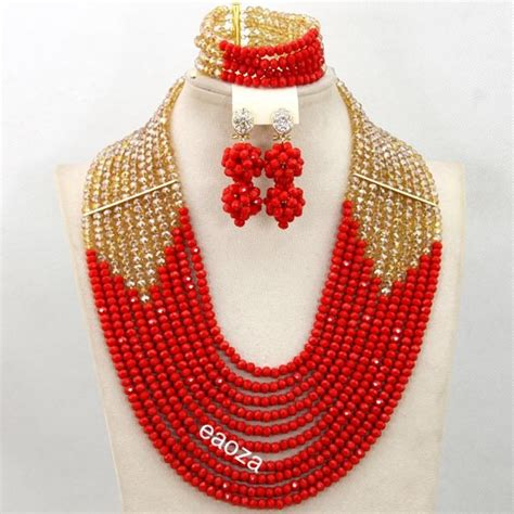 10 layer African Nigerian wedding party bridal Beads necklace set   African Nigerian Wedding
