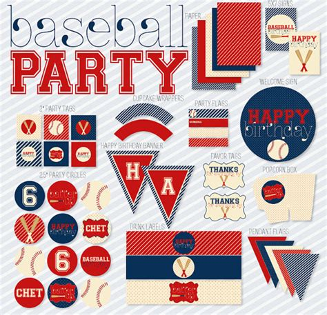 printable baseball party decorations vintage baseball party printable birthday full party by